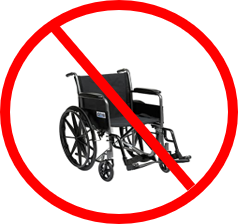 Wheel with red line across in a red circle. Not all wheelchairs are suitable to transport.
